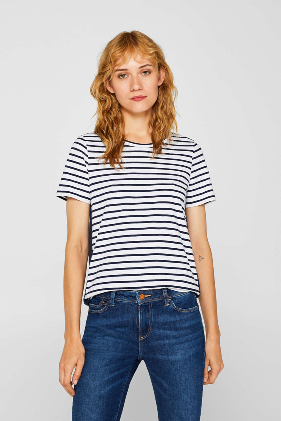 edc - Striped top with racing stripes, 100% cotton