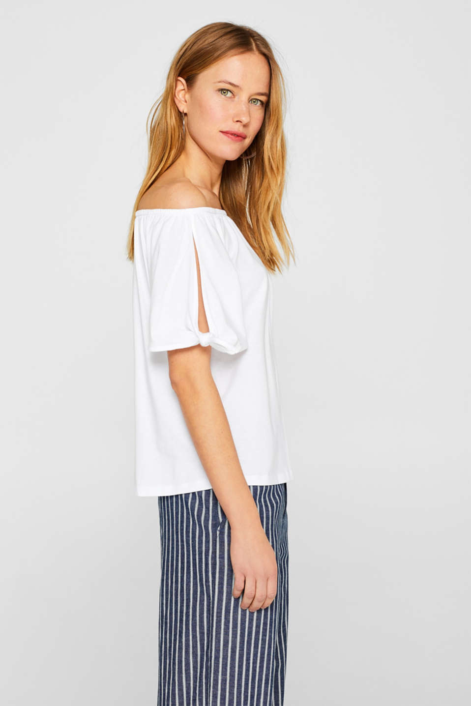 Carmen T-shirt with pretty sleeves, WHITE, detail image number 5