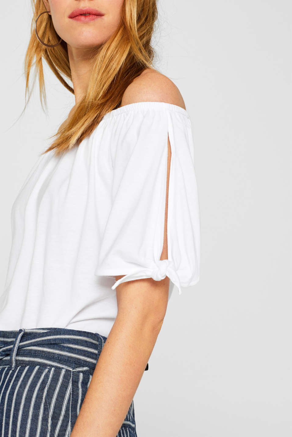 Carmen T-shirt with pretty sleeves, WHITE, detail image number 2