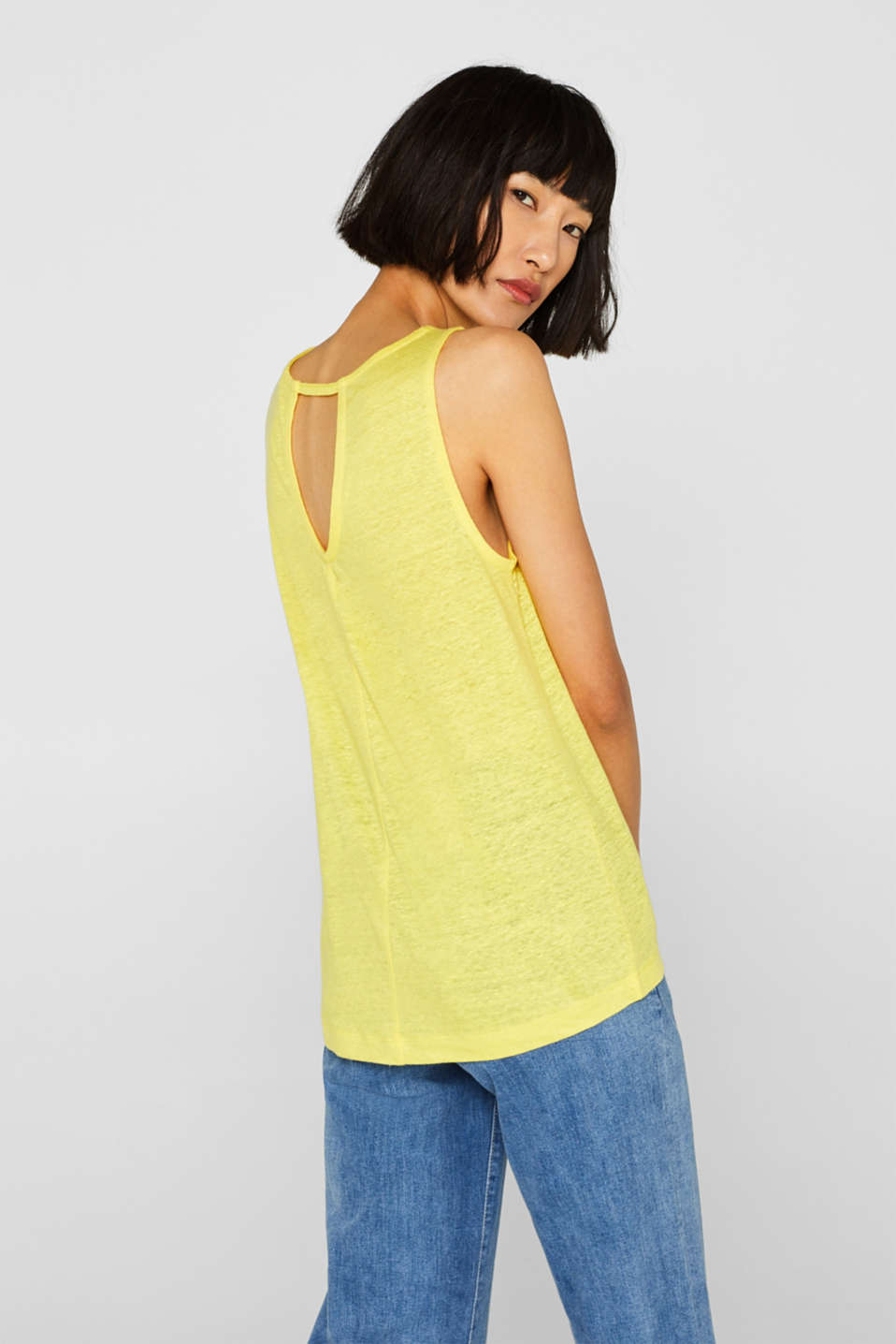 Vest with a cut out, made of 100% linen, BRIGHT YELLOW, detail image number 3