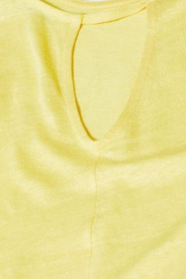 Vest with a cut out, made of 100% linen, BRIGHT YELLOW, detail