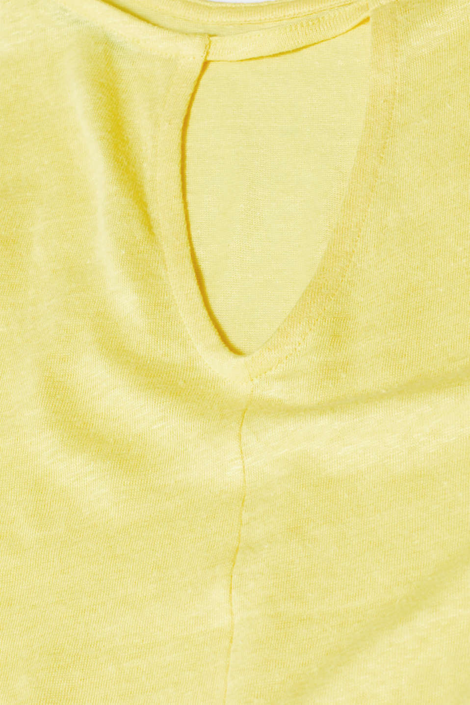 Vest with a cut out, made of 100% linen, BRIGHT YELLOW, detail image number 4