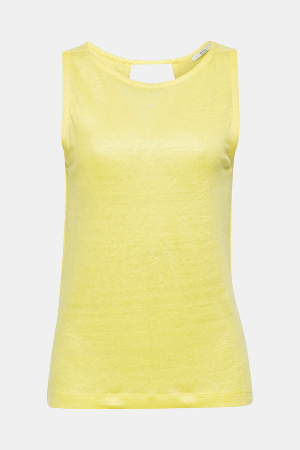 Vest with a cut out, made of 100% linen, BRIGHT YELLOW, detail image number 6