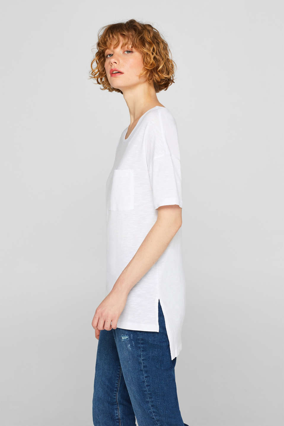 edc - Long top with a pocket and high-low hem