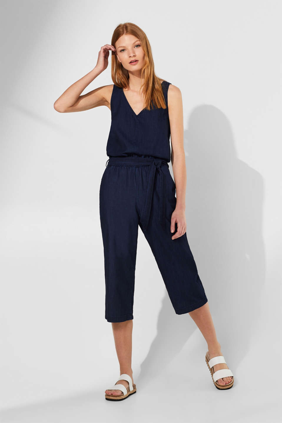 Dark denim jumpsuit with a cut-out, 100% cotton