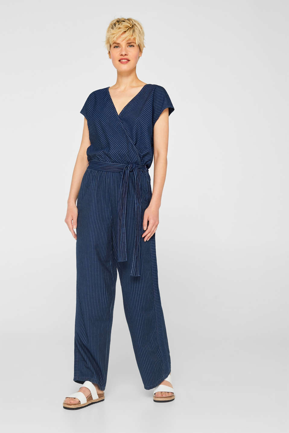 edc - Jumpsuit with stripes and a wrap-over effect