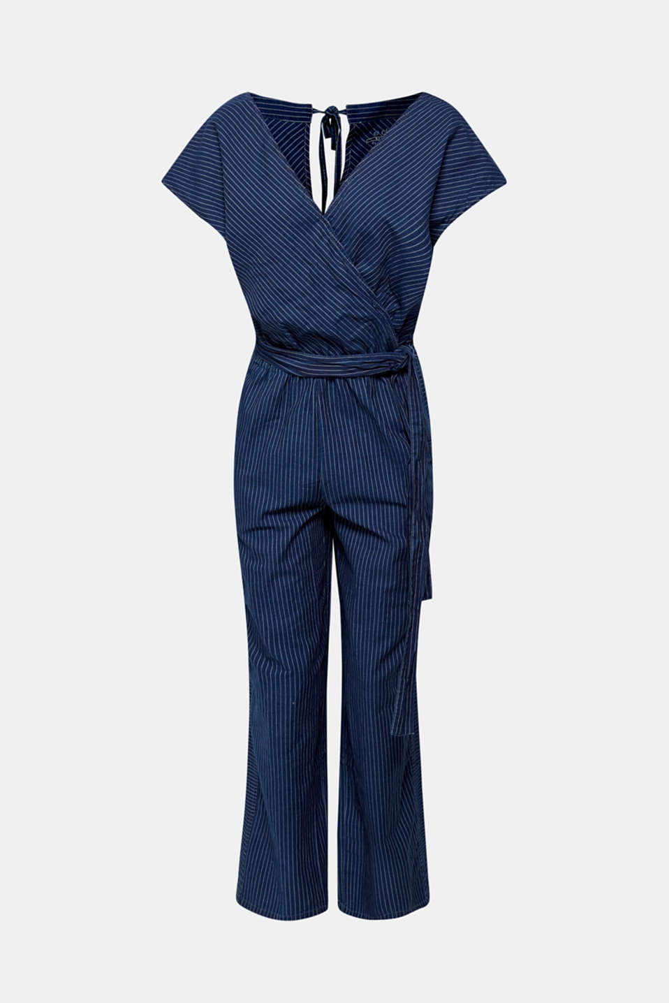 Jumpsuit with stripes and a wrap-over effect