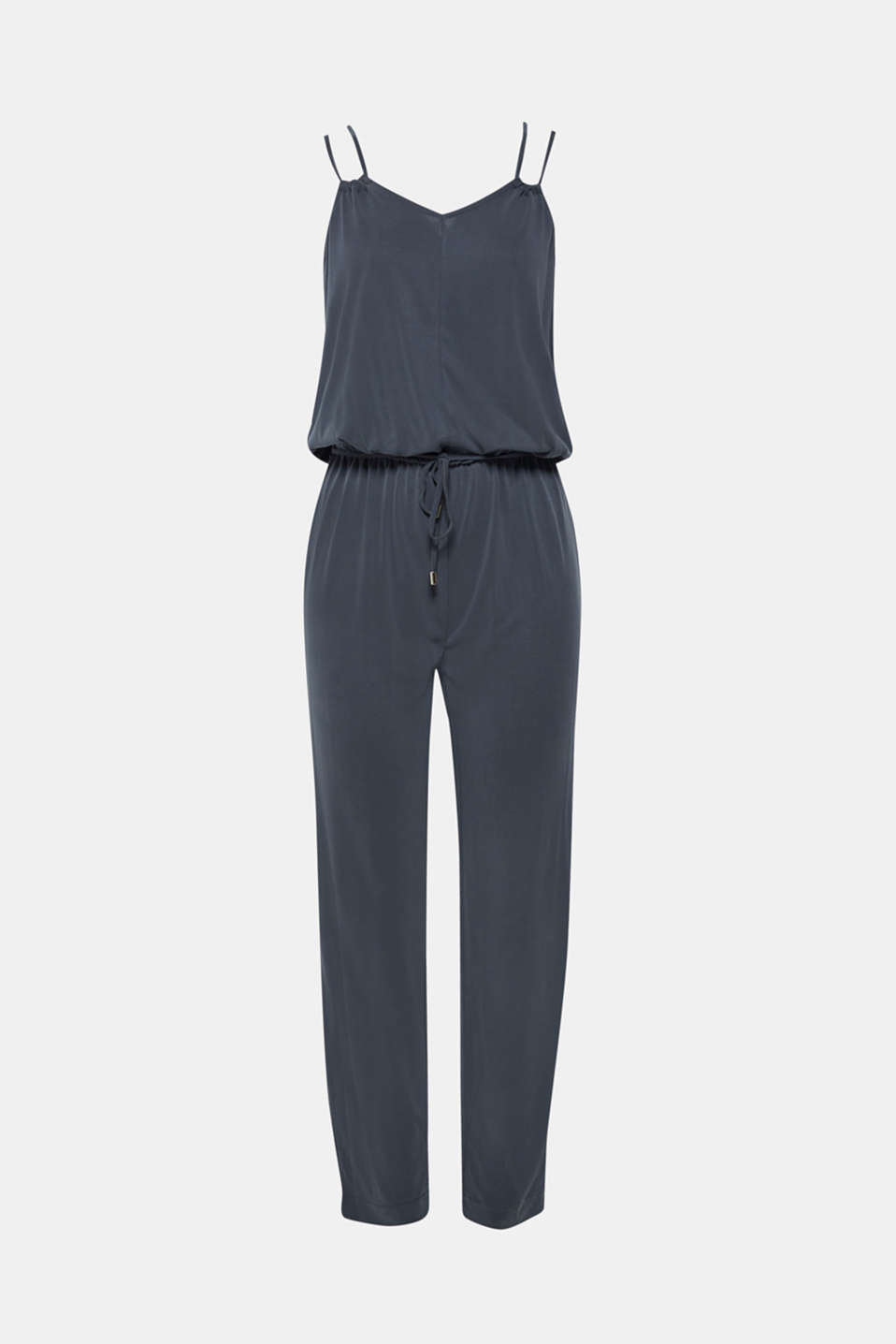 Jersey jumpsuit with double straps