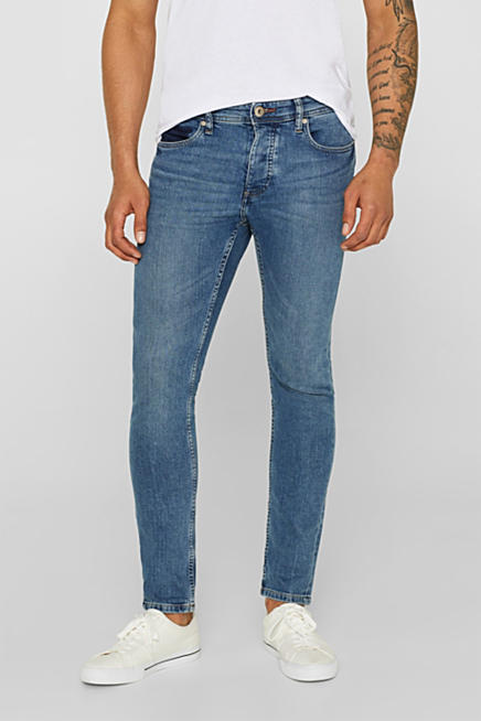 13bec776747 Stretch jeans with washed-out effects. Blue