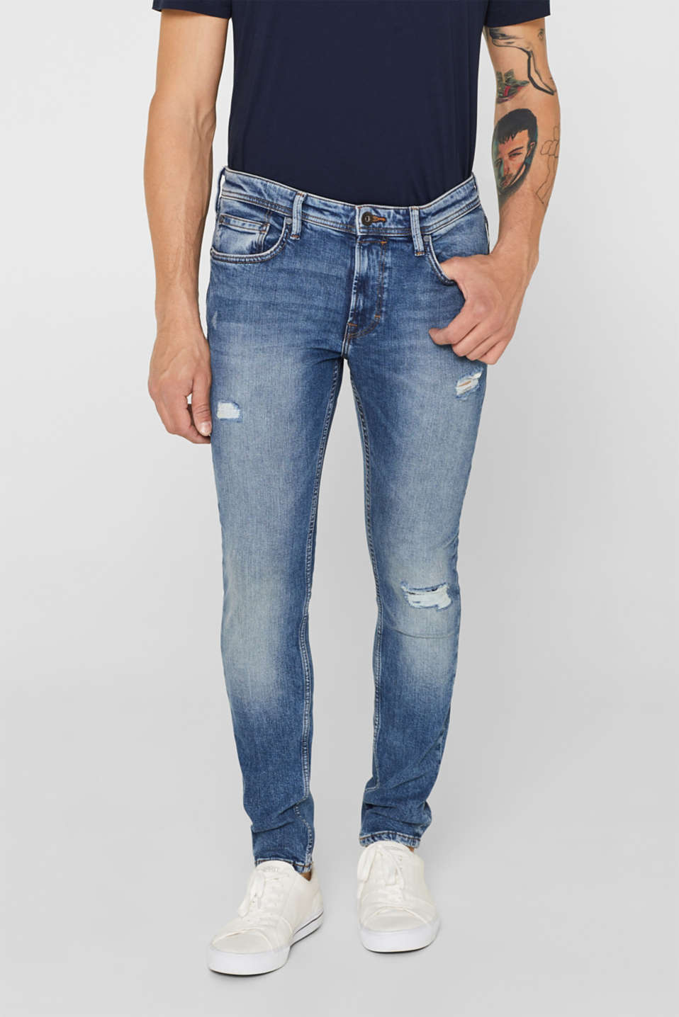 edc - Stretch-Jeans mit Destroyed-Effekten