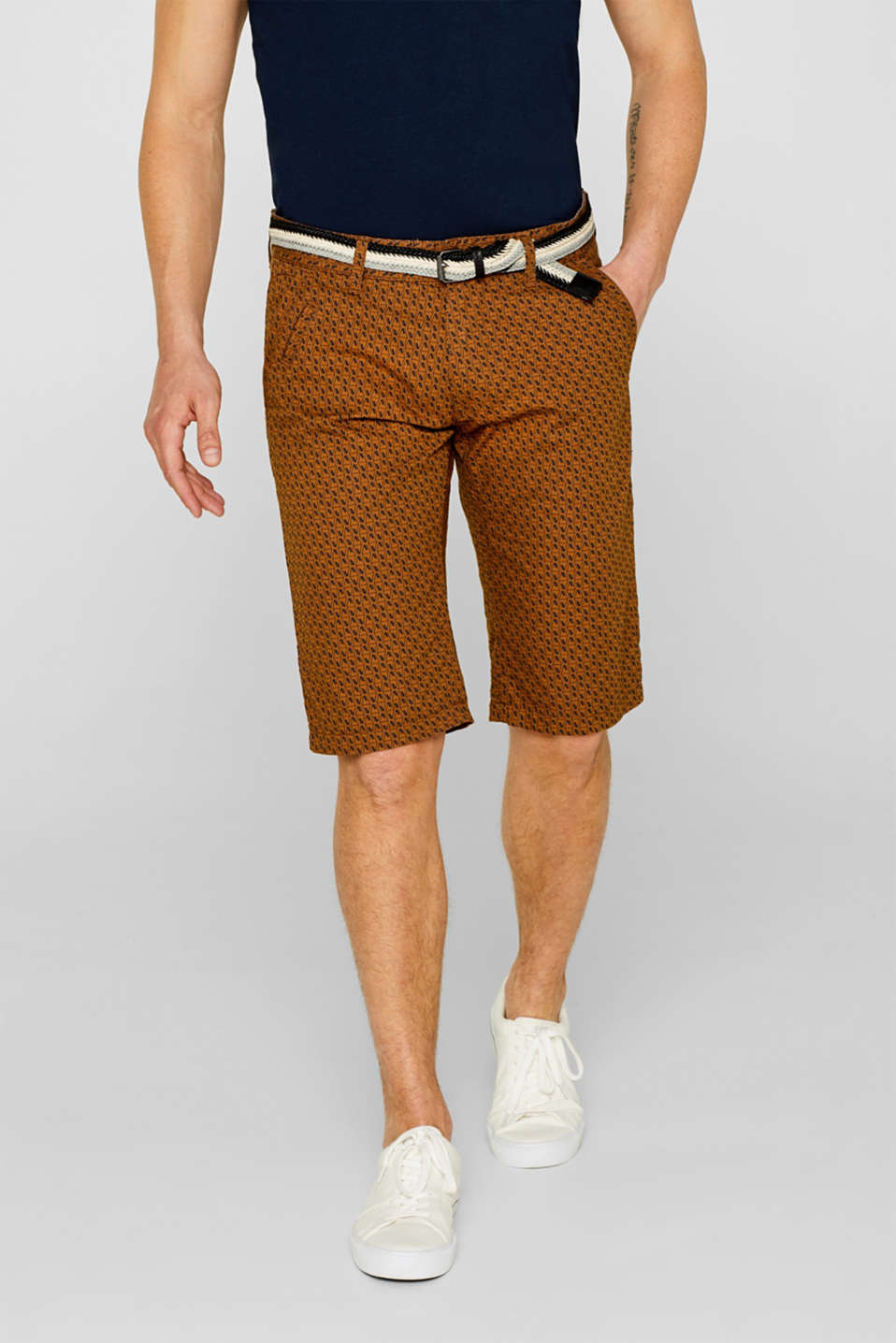 edc - Bermuda shorts with a belt, 100% cotton