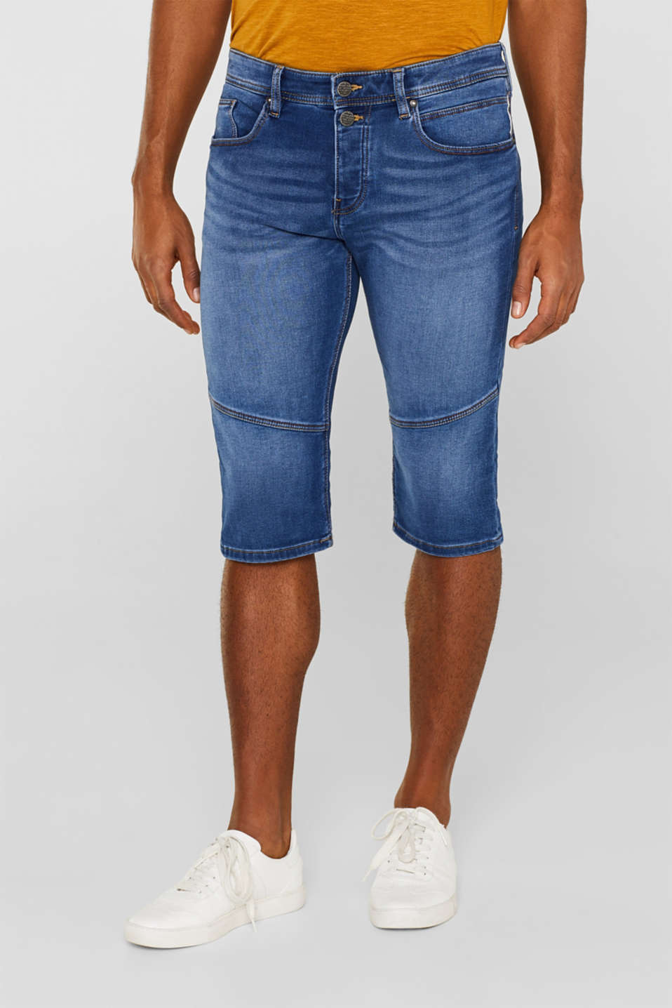 edc - Denim short van joggingstof met veel stretch