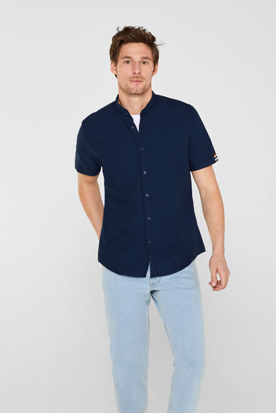edc - Short sleeve shirt with racing stripes, 100% cotton