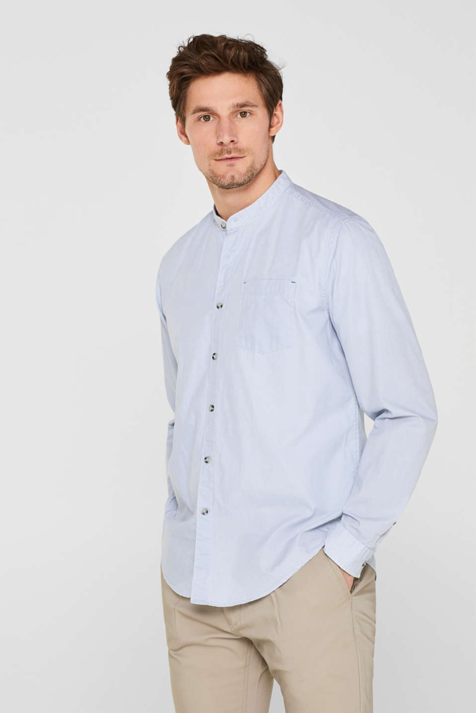 Print shirt with a stand-up collar, 100% cotton