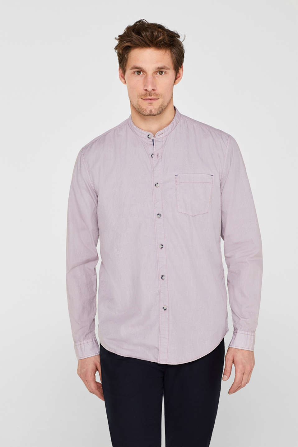 edc - Print shirt with a stand-up collar, 100% cotton
