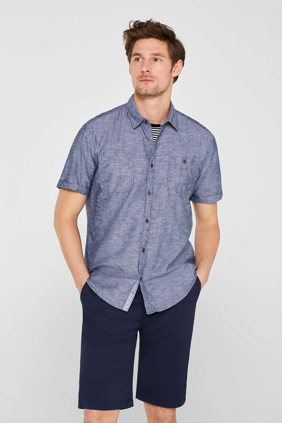 edc - Linen blend: short-sleeved shirt with breast pockets
