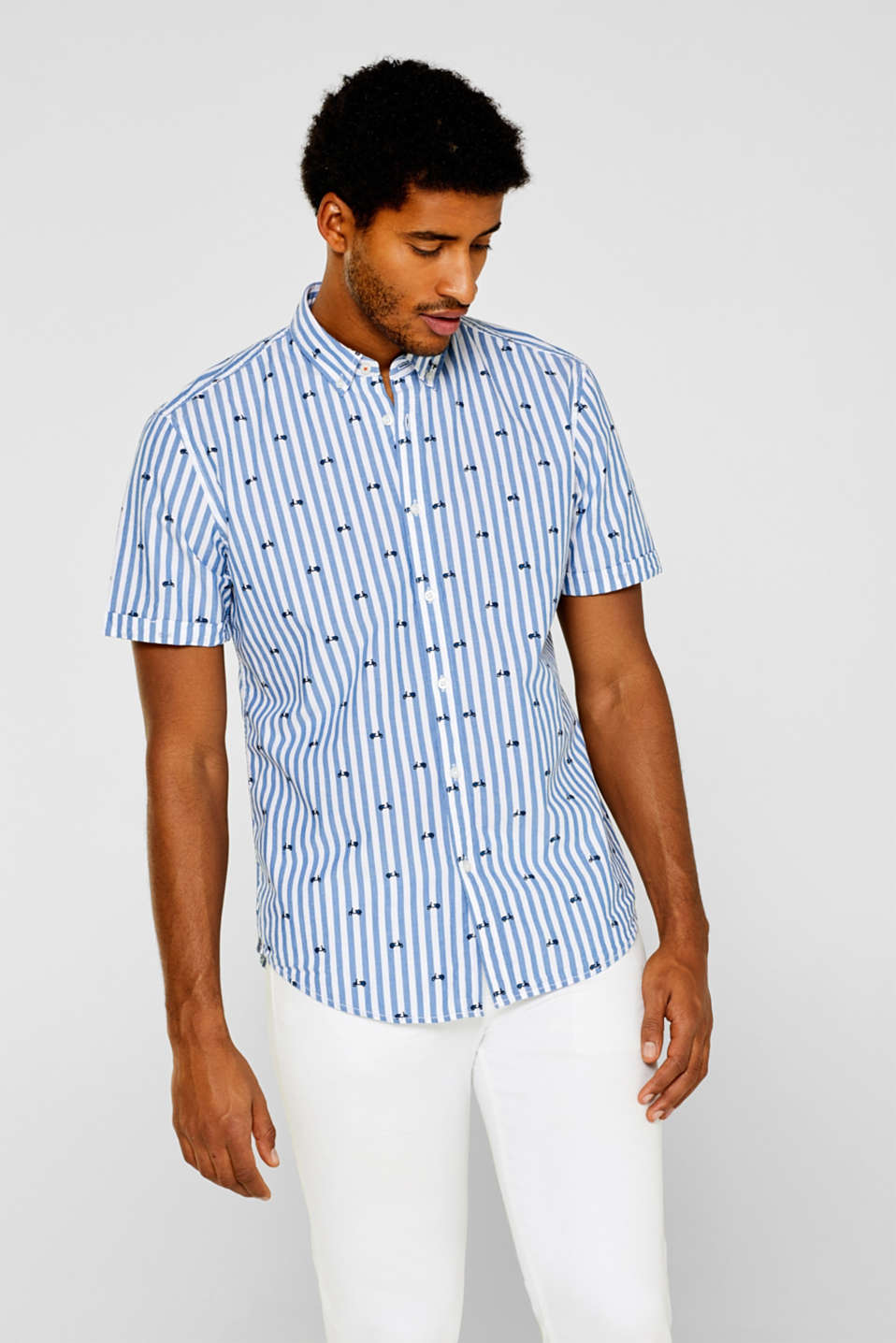 edc - Striped short sleeve shirt made of 100% cotton