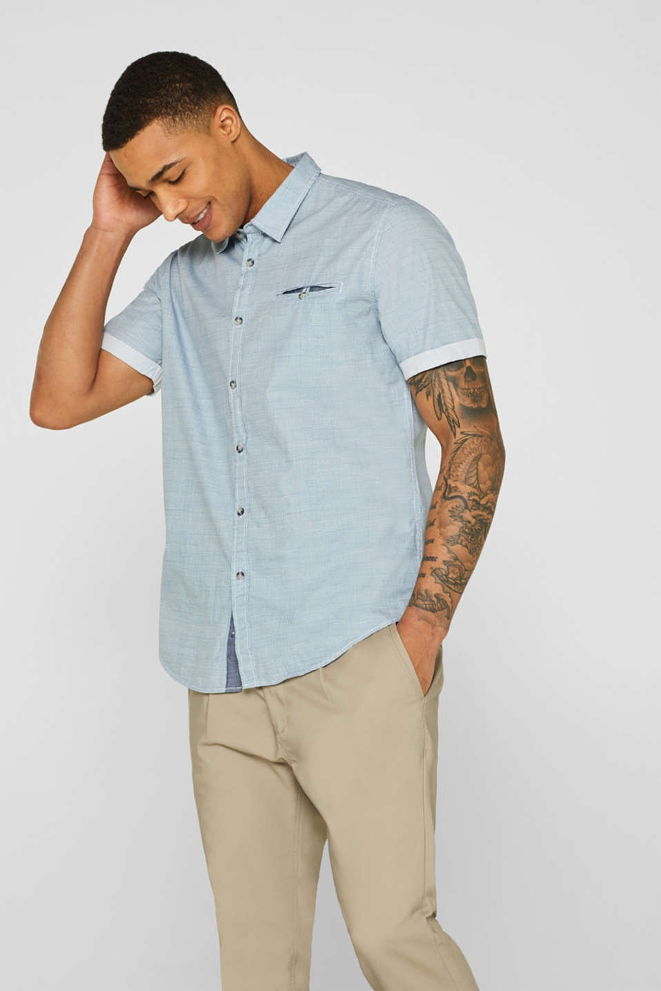 edc - Short sleeve shirt with a grid pattern, 100% cotton