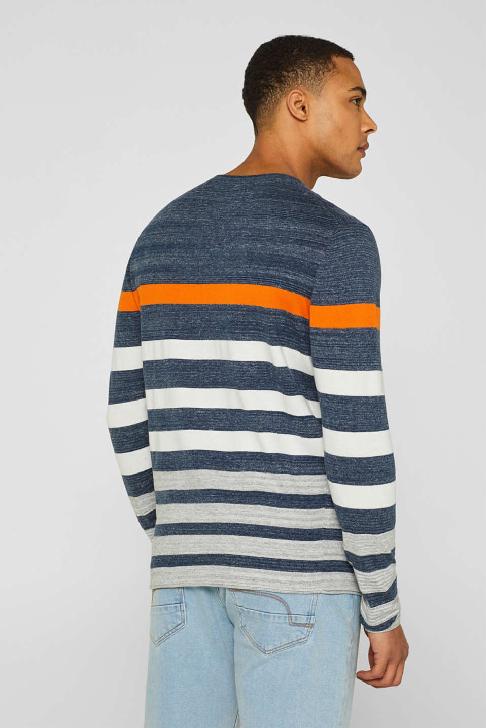 Striped jumper in 100% cotton, NAVY, detail image number 3