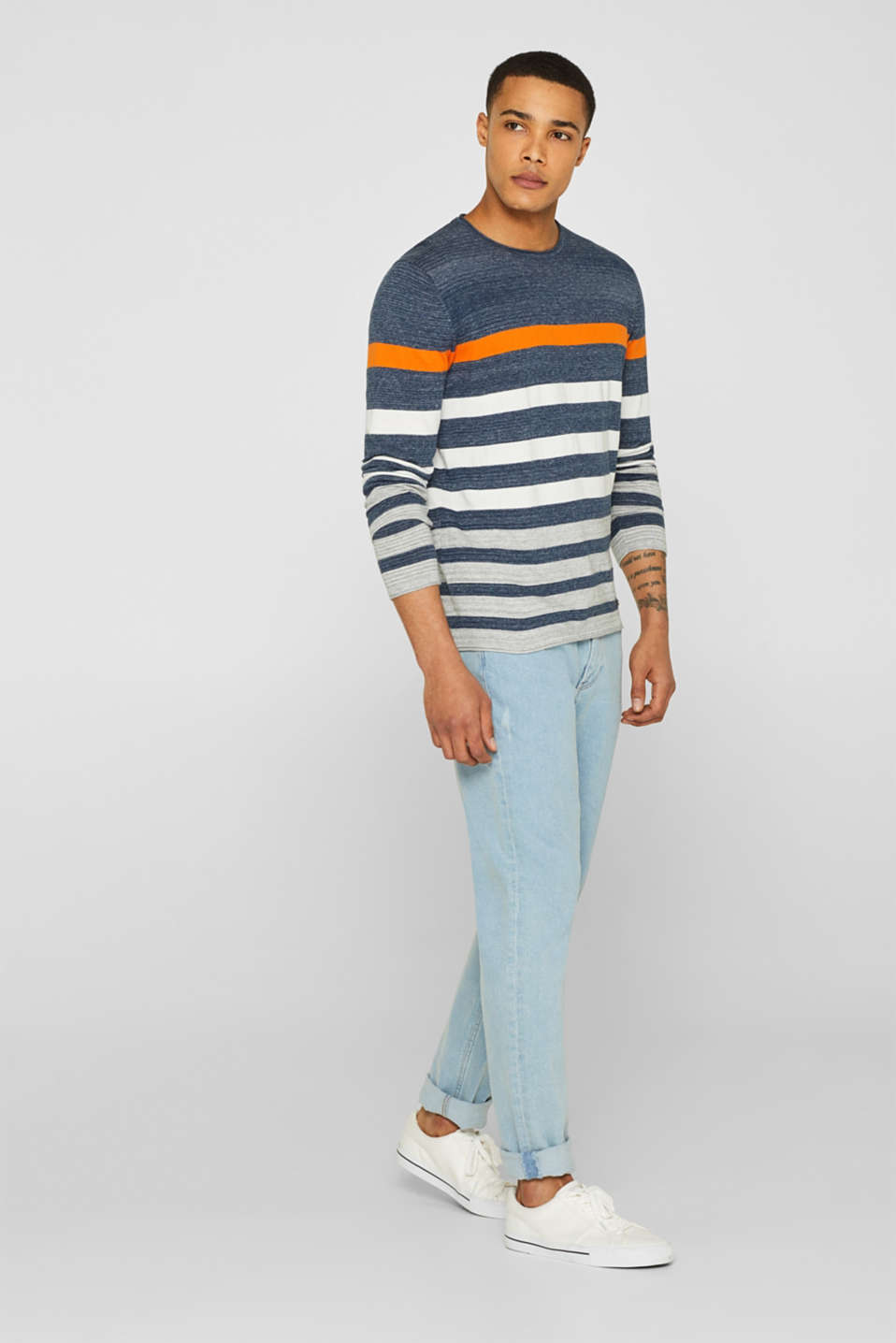 Striped jumper in 100% cotton, NAVY, detail image number 1