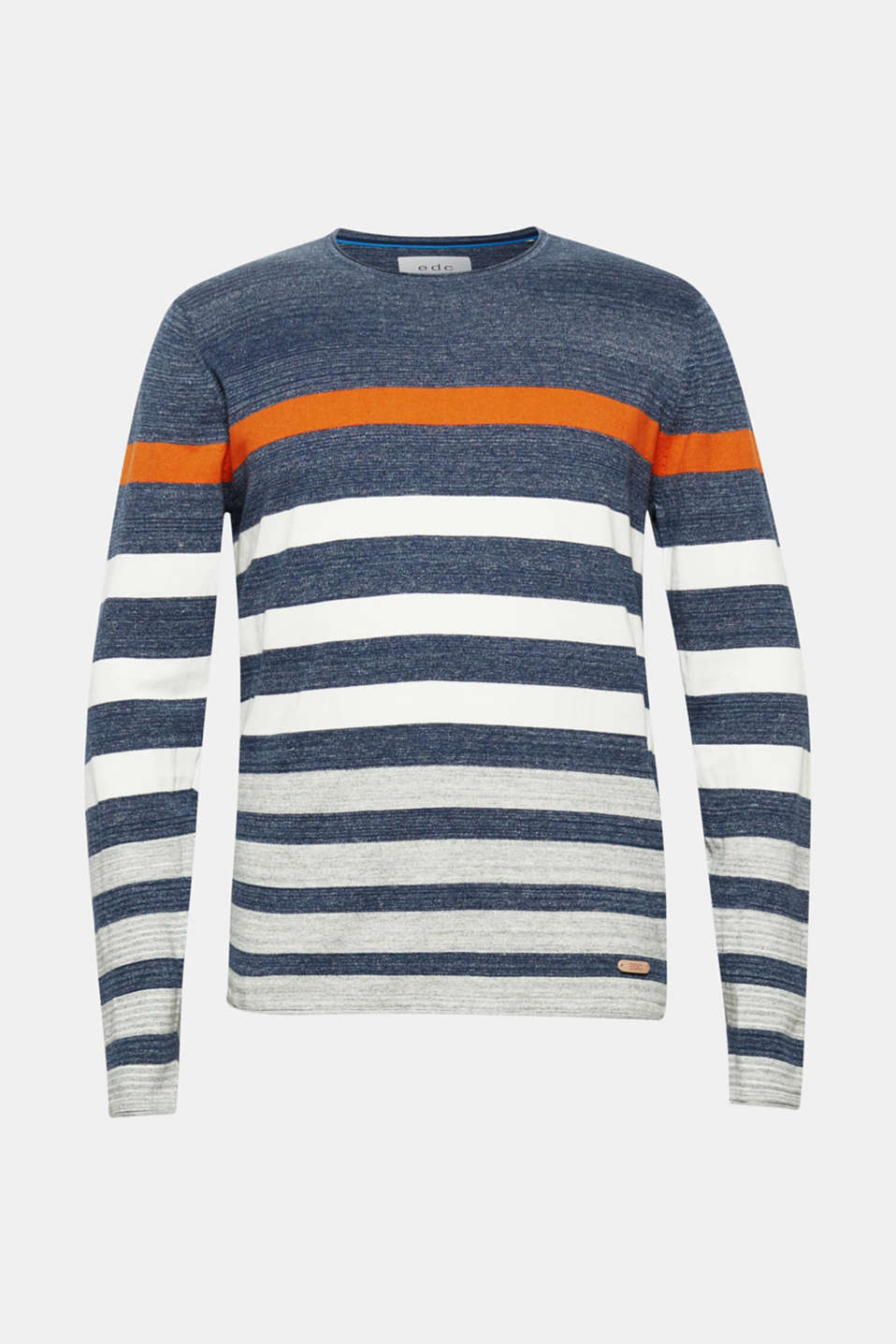 Striped jumper in 100% cotton, NAVY, detail image number 5