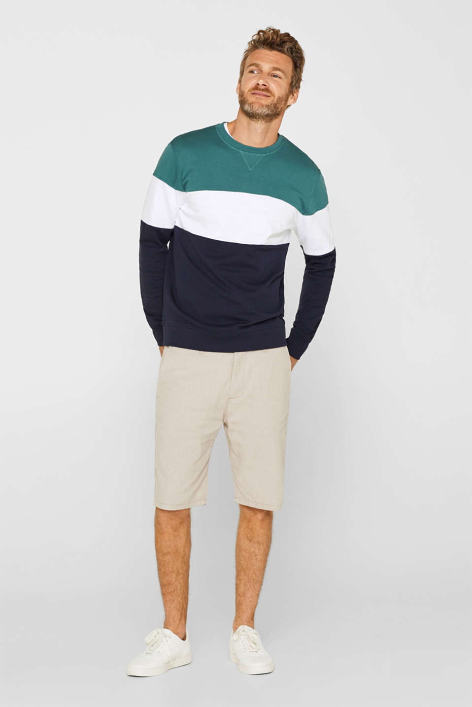 edc - Sweatshirt with block stripes, in blended cotton