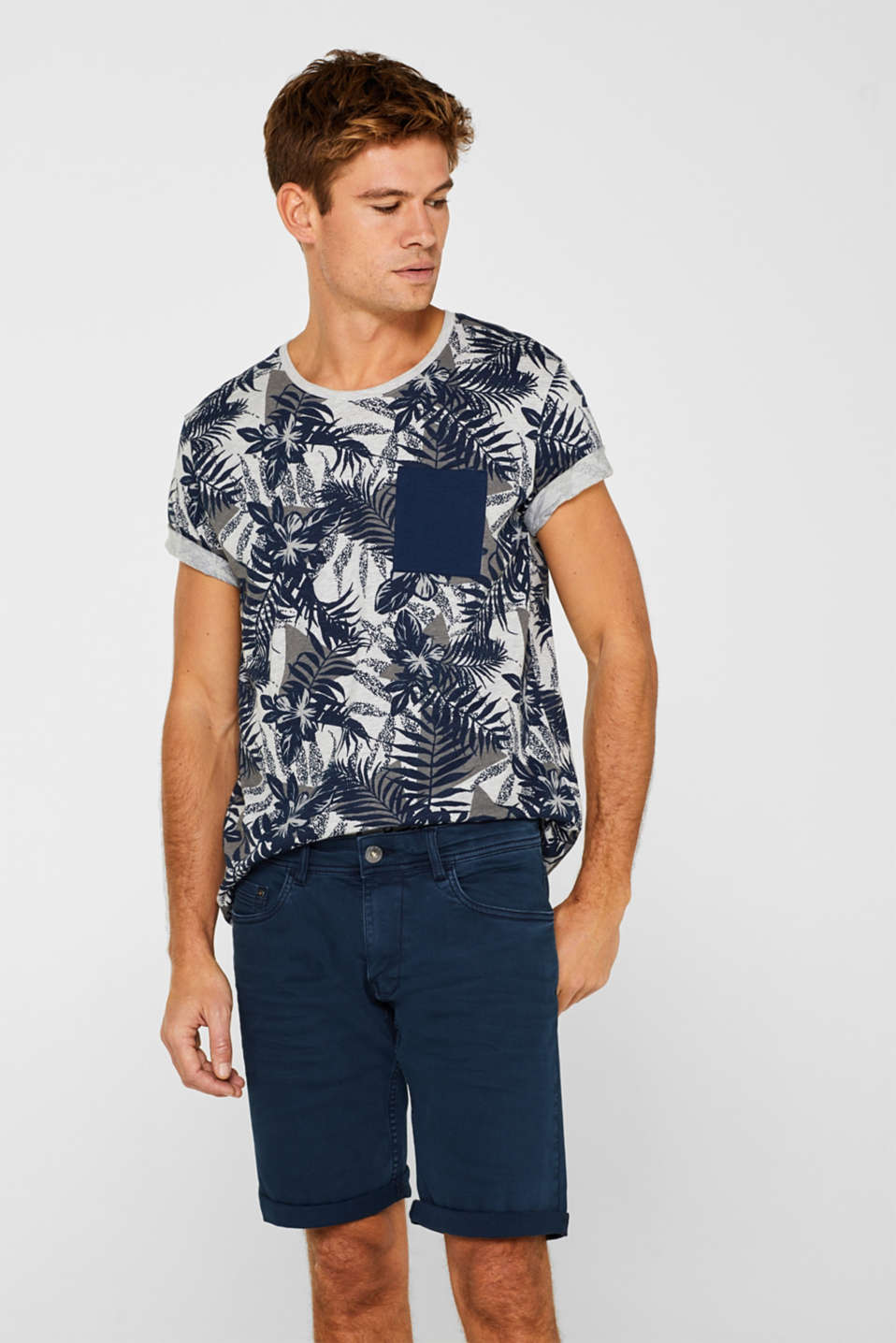 edc - Jersey top with a tropical print