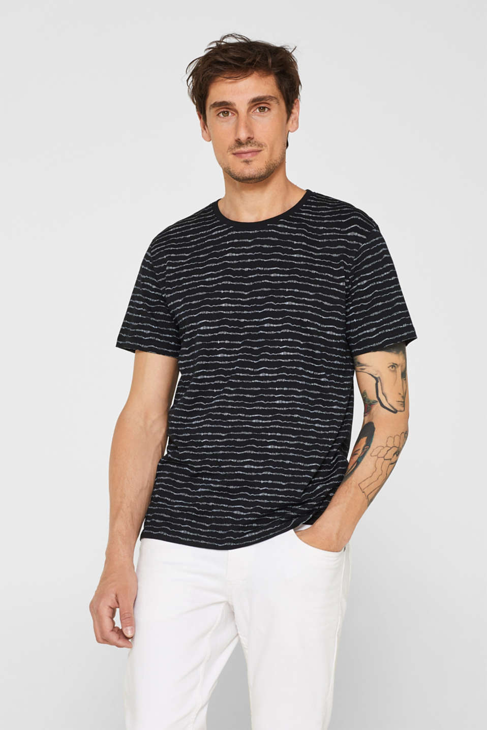 edc - Jersey T-shirt with a striped print, 100% cotton