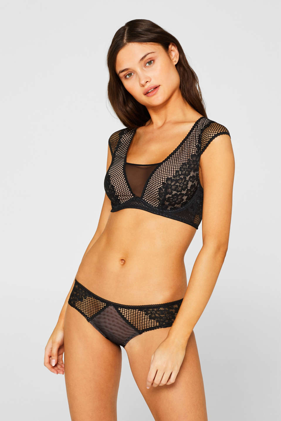 edc - Non-padded underwire bustier in lace and mesh