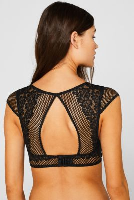 Non-padded underwire bustier in lace and mesh