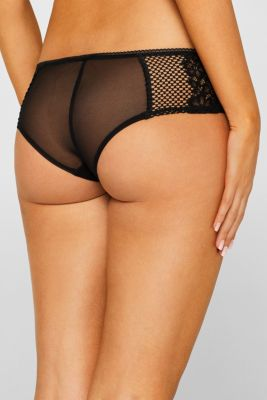 Mesh and lace hipster shorts