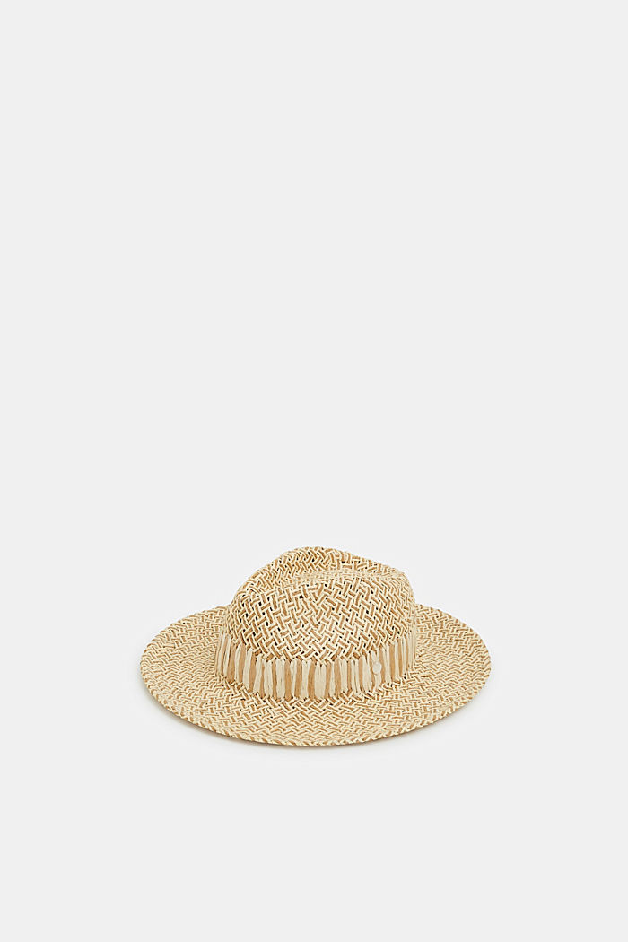 Fedora hat in two-tone straw, TAUPE, detail image number 0