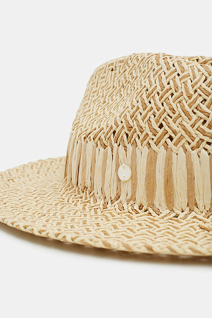 Fedora hat in two-tone straw, TAUPE, detail image number 1