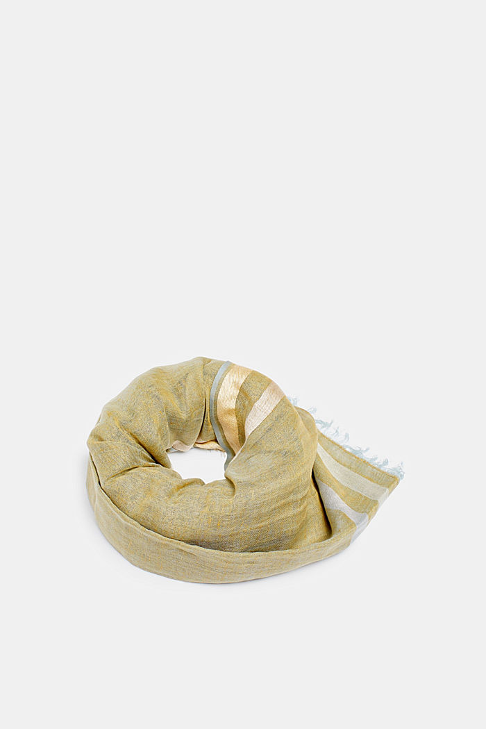 Linnenmix: gemêleerde sjaal, KHAKI BEIGE, detail image number 0