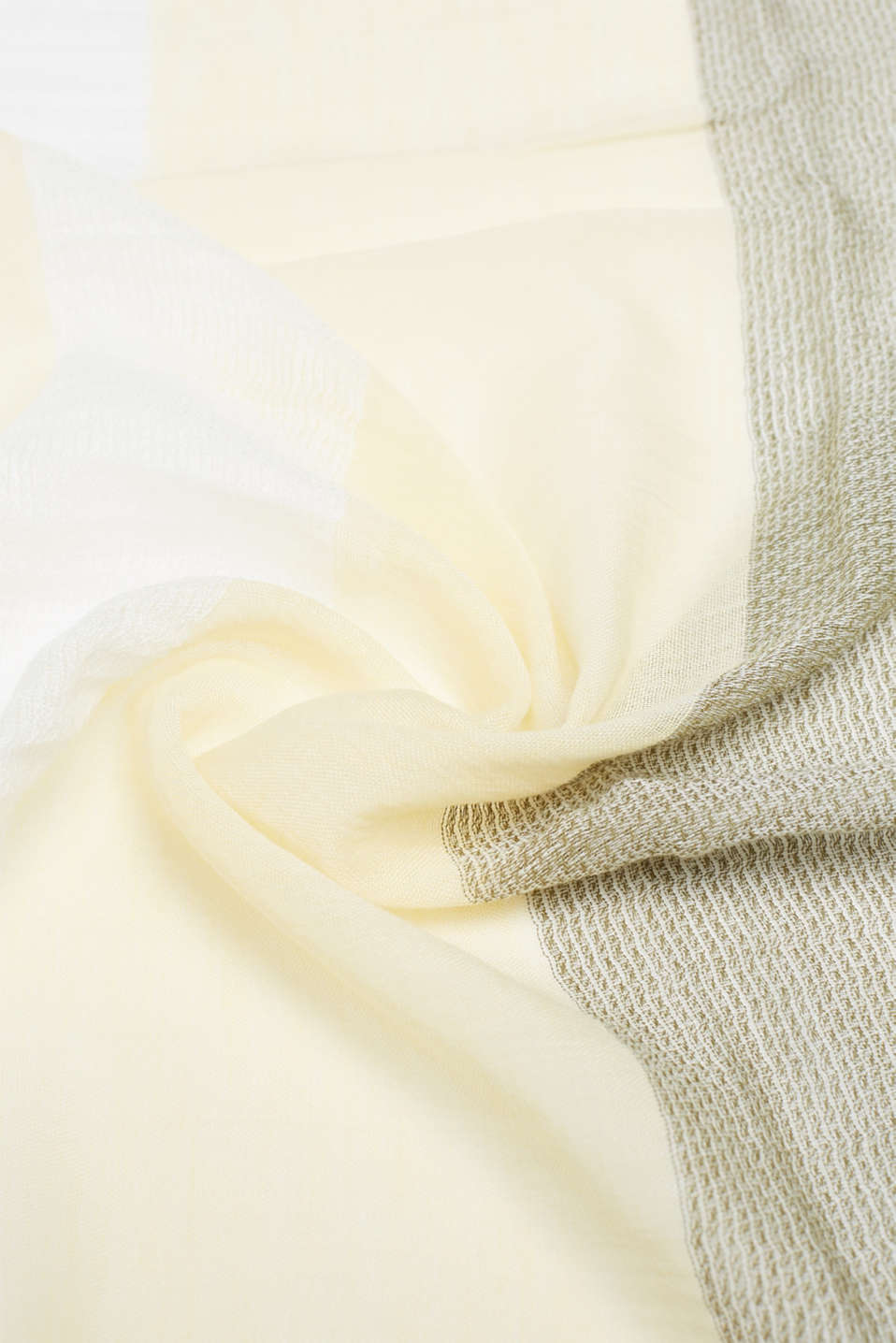 With linen: textured striped scarf, OFF WHITE, detail image number 2