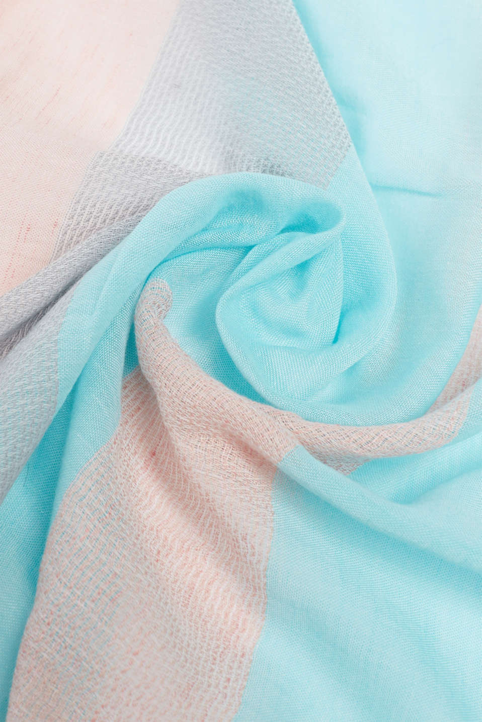 With linen: textured striped scarf, CORAL, detail image number 2