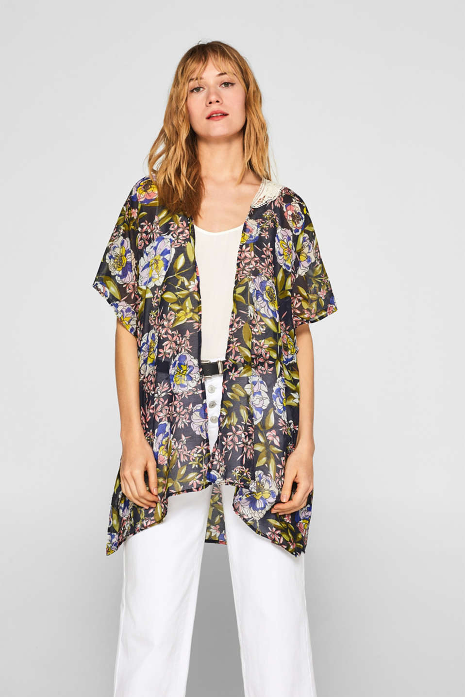 Esprit - Poncho with a floral print and lace