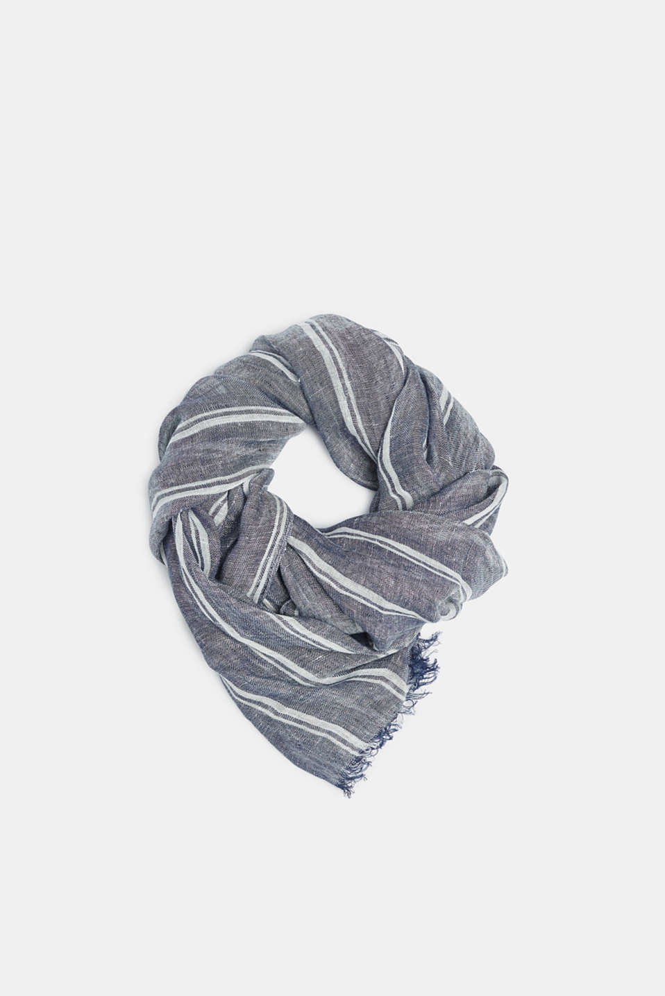 Esprit - 100% linen: scarf with sporty striped design