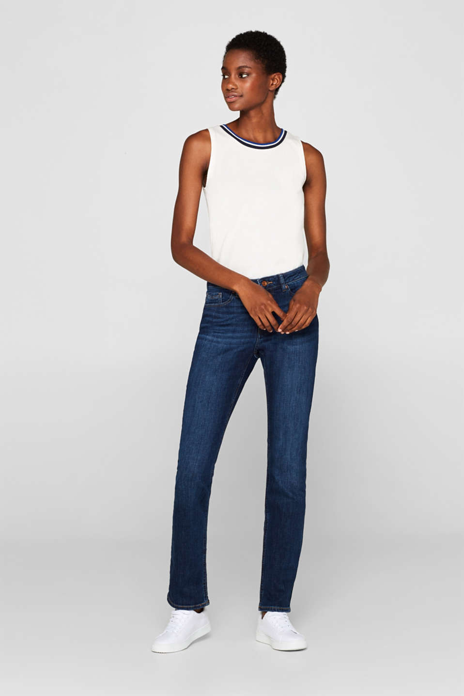 Esprit - Stretch jeans in a basic look with organic cotton