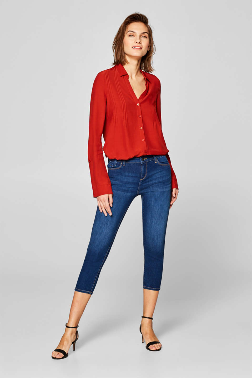 Esprit - Capri-jeans met stretch en organic cotton