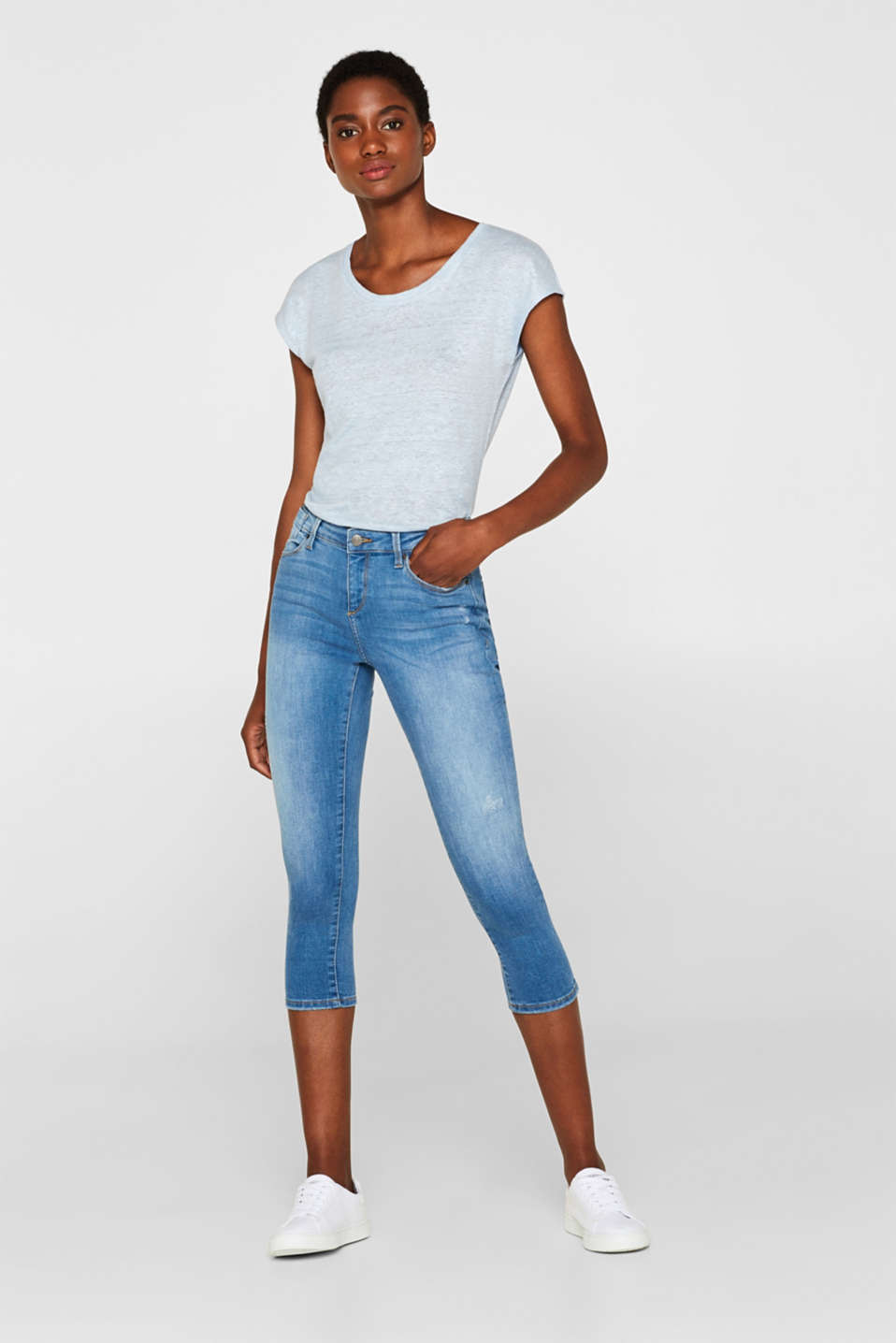 Esprit - Stretch capri jeans with organic cotton