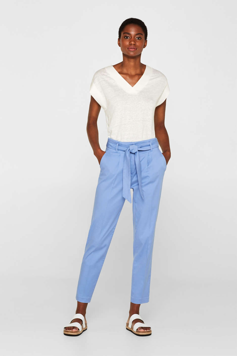 Esprit - Paper-bag stretch trousers made of blended lyocell