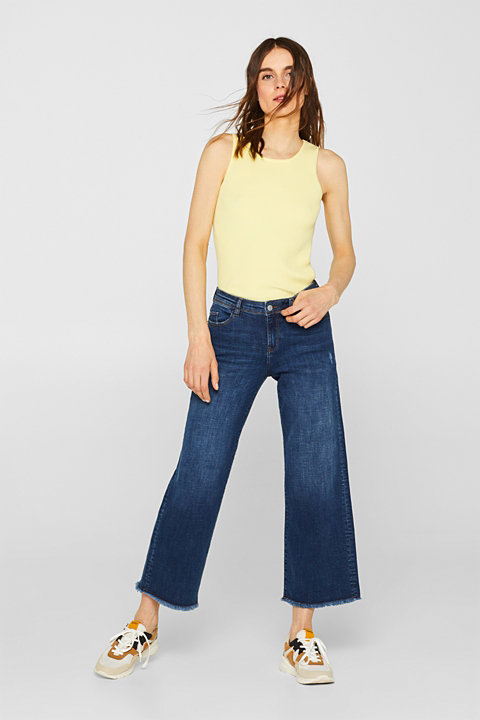 Ankle-length stretch jeans with wide legs