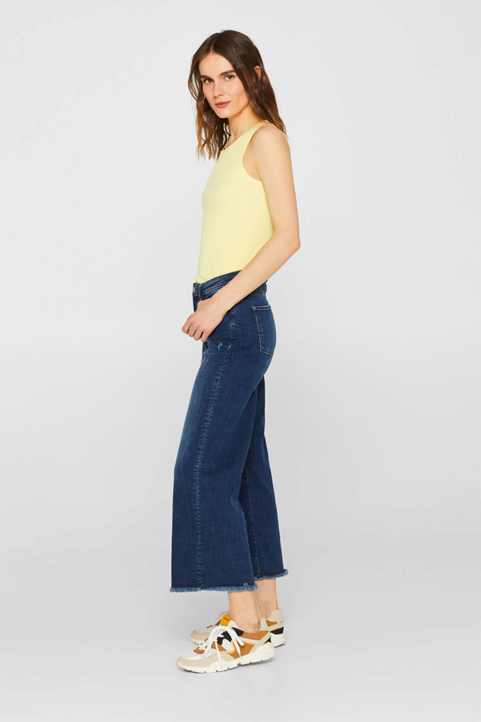 Ankle-length stretch jeans with wide legs, BLUE MEDIUM WASH, detail