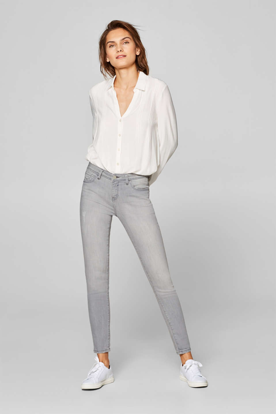 Esprit - Cropped stretch jeans with organic cotton