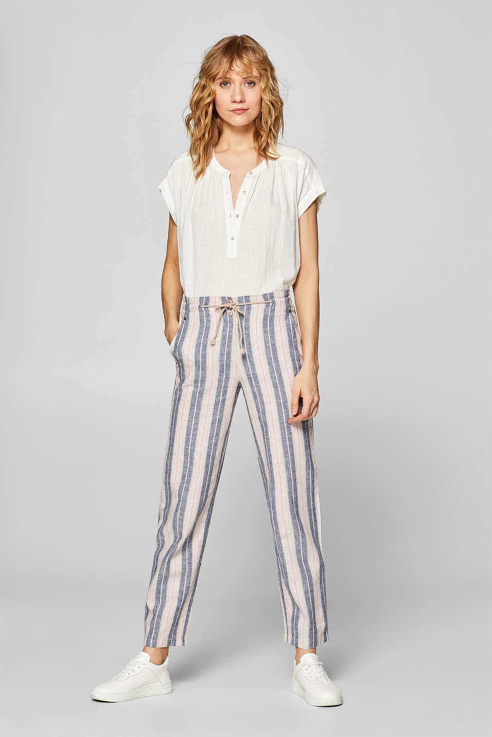 Esprit - Linen blend: Cloth trousers with multi-coloured stripes