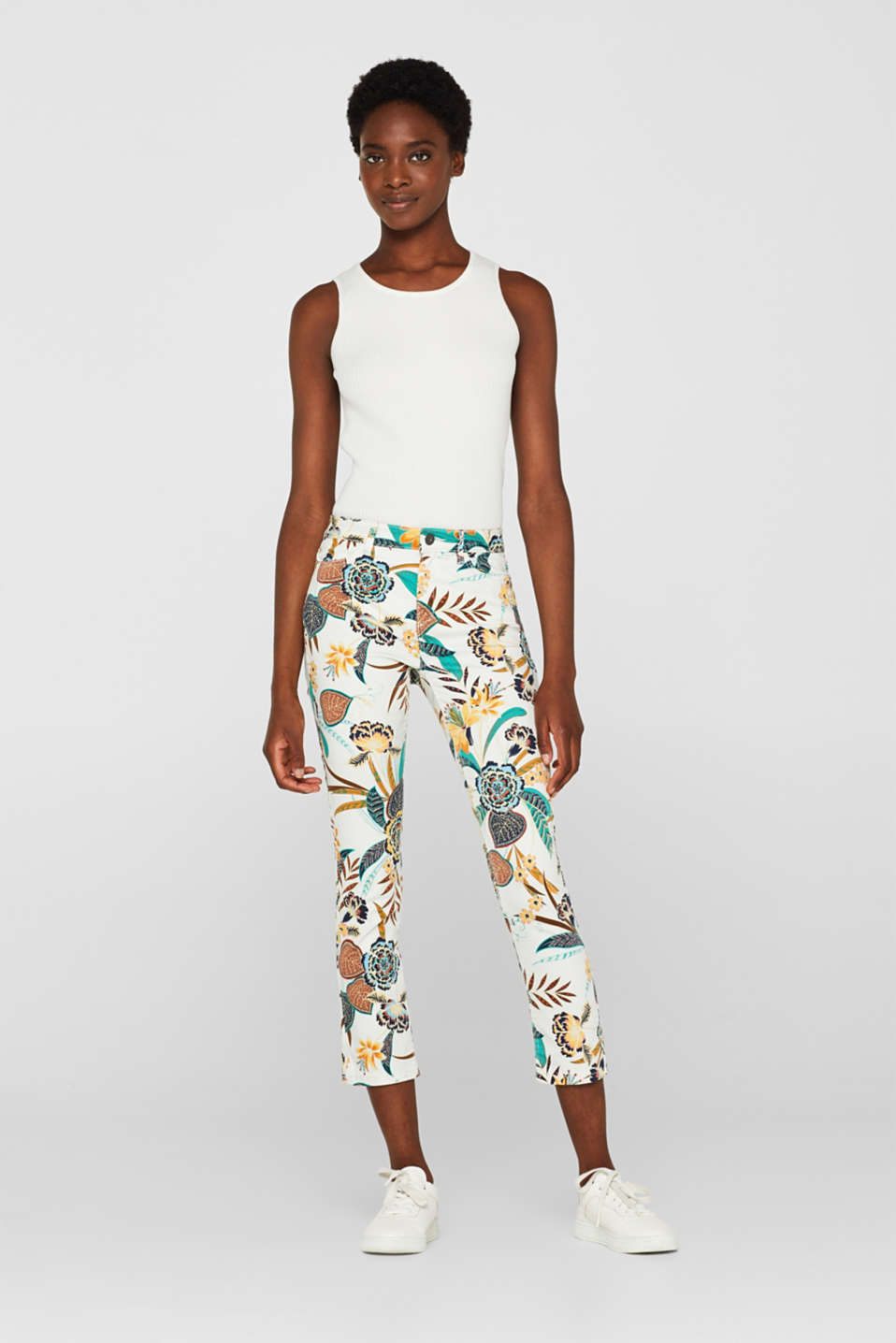 Esprit - Ankle-length stretch trousers with a floral print