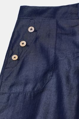 Lyocell trousers in a denim look with button plackets