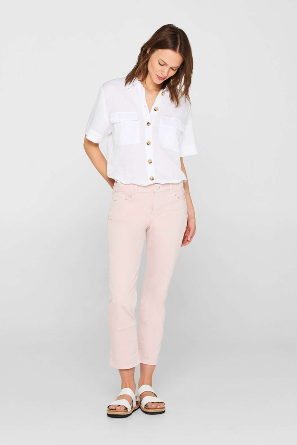 Ankle-length stretch jeans, organic cotton