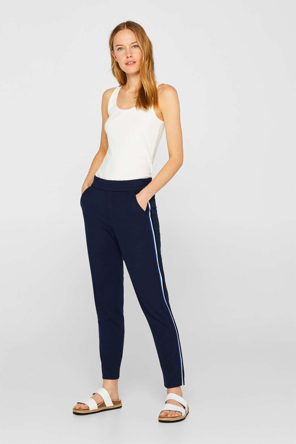 Esprit - Stretch jersey trousers with racing stripes